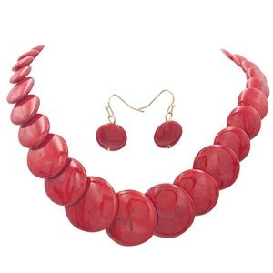 Red Stone Round Disk Beads Necklace Earrings Set